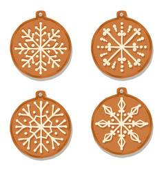 realistic gigngerbread christmas ball collection vector image