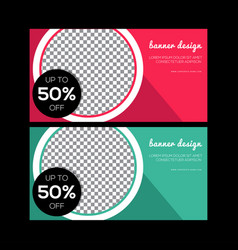 red banner design green abstract poster set vector image