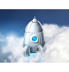 rocket in clouds vector image