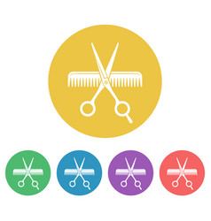 scissors and comb colored round icons vector image