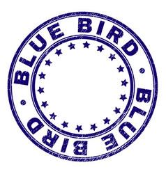 Scratched textured blue bird round stamp seal vector