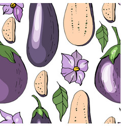Seamless pattern with eggplant endless texture vector