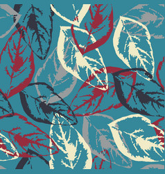 seamless texture of leaves on blue background vector image