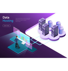 Server hosting flat isometric concept vector