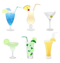 Set of different cocktails vector
