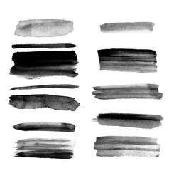 Set of different grunge brush strokes vector