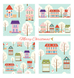 set seamless christmas patterns with cute vector image