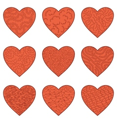 Set Valentine hearts vector image