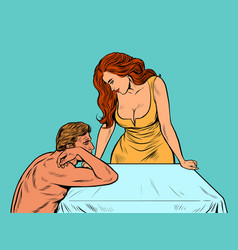 Sexy man and woman near bed vector