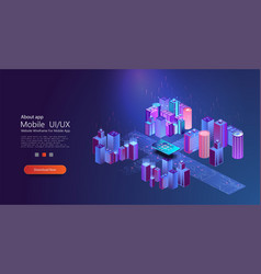 smart city concept isometric modern urban vector image