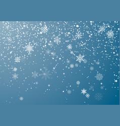 Snowfall christmas background flying snow flakes vector