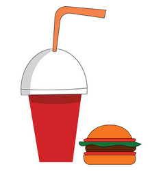 soda cup and burger on white background vector image