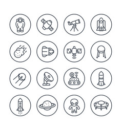 Space and astronomy line icons on white vector