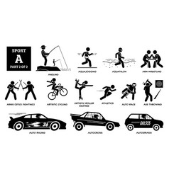 Sport games alphabet a icons pictograph angling vector