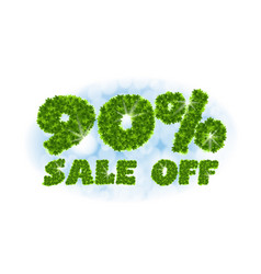 Spring sale 90 percent off letters and figures vector