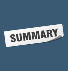 Summary sticker summary square isolated sign vector