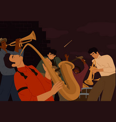 team street artistic people playing on musician vector image