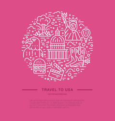 The circle with usa symbols vector