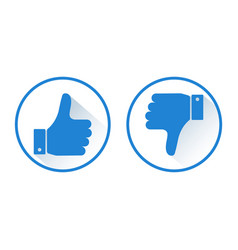 Thumb up and down like and dislike blue round vector