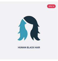 Two color human black hair icon from woman vector