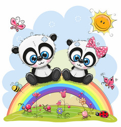 two pandas are sitting on the rainbow vector image