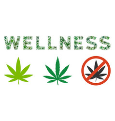 Wellness text collage of cannabis vector