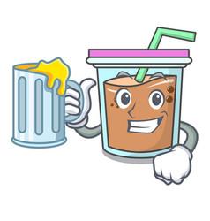 With juice bubble tea mascot cartoon vector