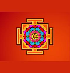 yantra tibetan colorful mandala lotus flower vector image