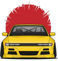 Yellow classic japan car vector