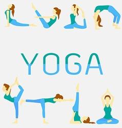 Yoga poses set vector
