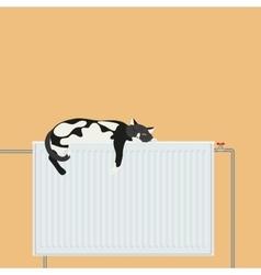 Cute cat relaxing sleeping on battery platform vector image