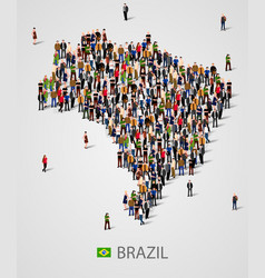 large group of people in form of brazil map vector image vector image