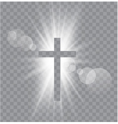 religioush three crosses with sun rays vector image vector image
