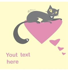 Background with black cats and hearts and place vector image vector image