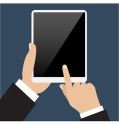 Business man holds and manages tablet computer vector image vector image