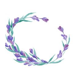 watercolor lavender wreath vector image