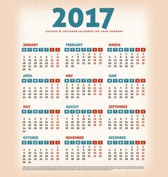 2017 vintage design calendar vector image