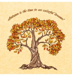 Autumn tree poster vector image vector image