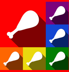 chicken leg sign set of icons with flat vector image