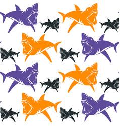 dangerous sharks seamless pattern vector image