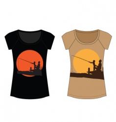 fishing woman t shirt vector image