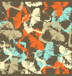 seamless texture of leaves on brown background vector image vector image