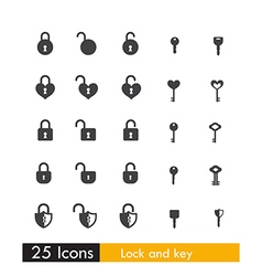 Set of 25 icon key and lock isolated on white vector image