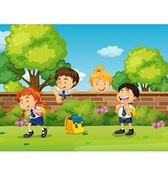 Students in uniform skipping school vector
