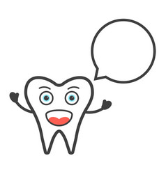 funny tooth character with speech bubble vector image vector image