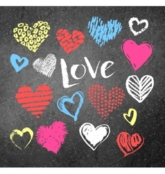 Grunge Valentine hearts with lettering vector image vector image
