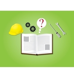Manual instruction book with books gear helmet vector