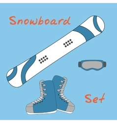Set icon of winter sports equipment icons - vector image