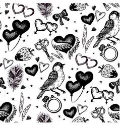 vintage wedding sketch seamless pattern vector image vector image