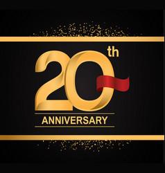 20 years anniversary logotype with premium gold vector